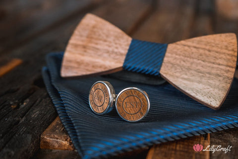 Wooden Cufflinks. Customised Laser Engraved Cufflinks for Groomsmen, Wedding Cufflinks, Luxury Premium Quality  Engraved Cufflinks.