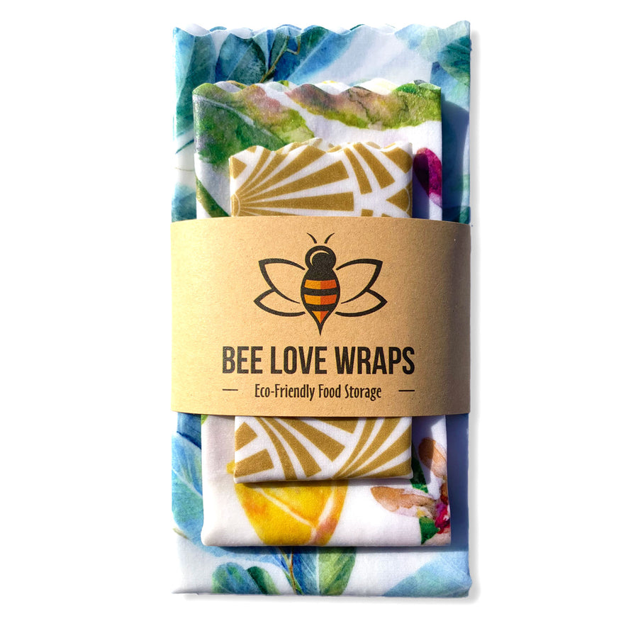 beeswax wrap 3 pack blue gold