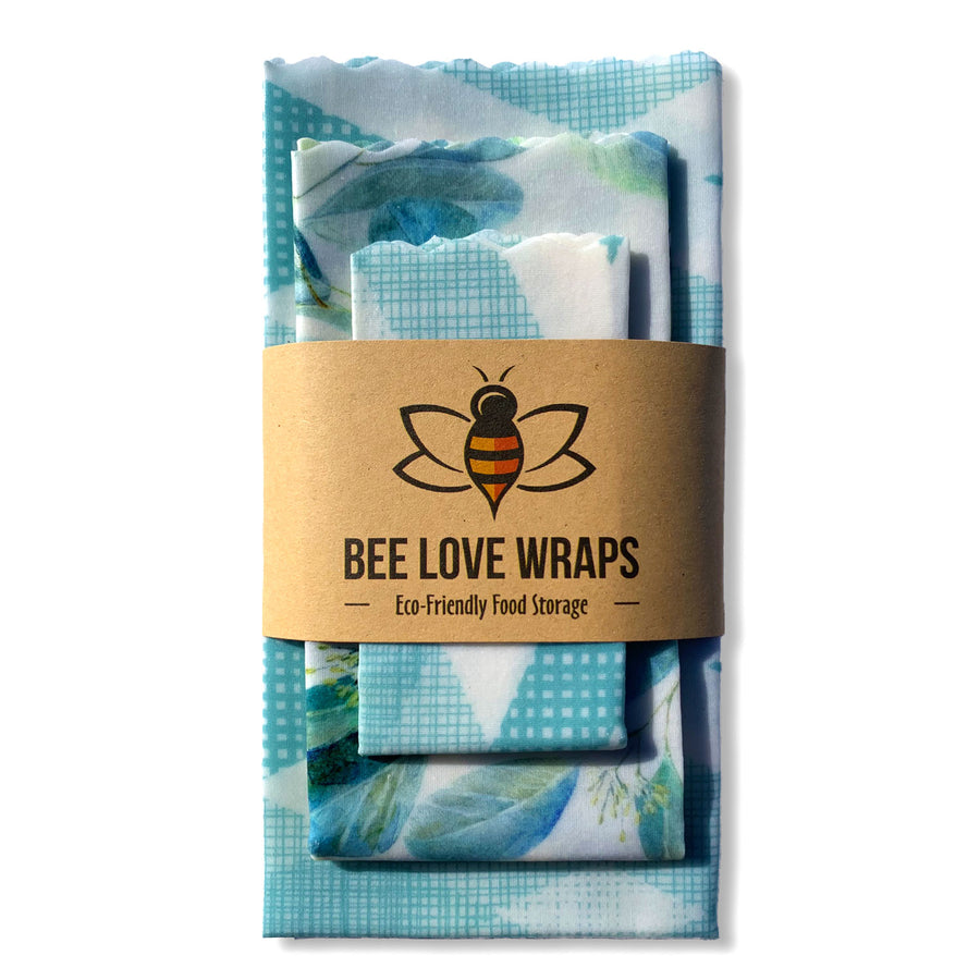 beeswax wrap 3 pack blue