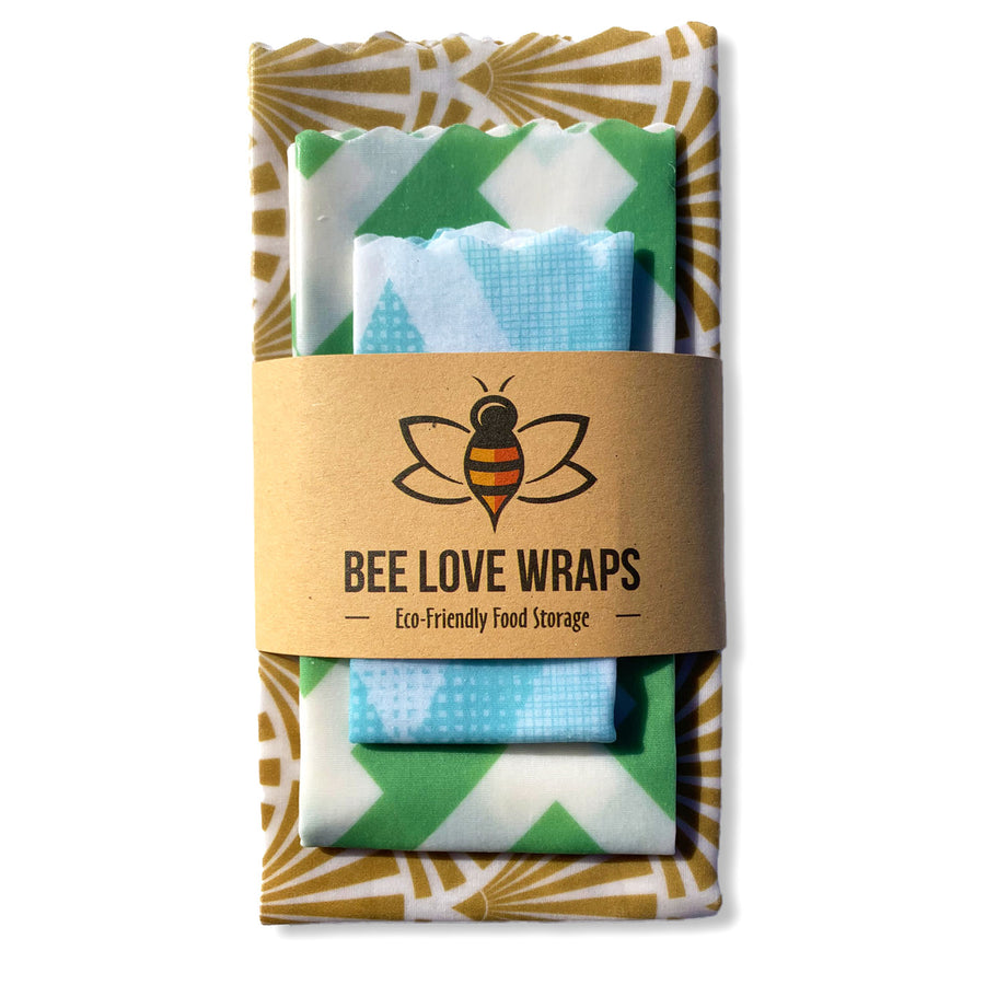 beeswax wrap 3 pack gold green blue