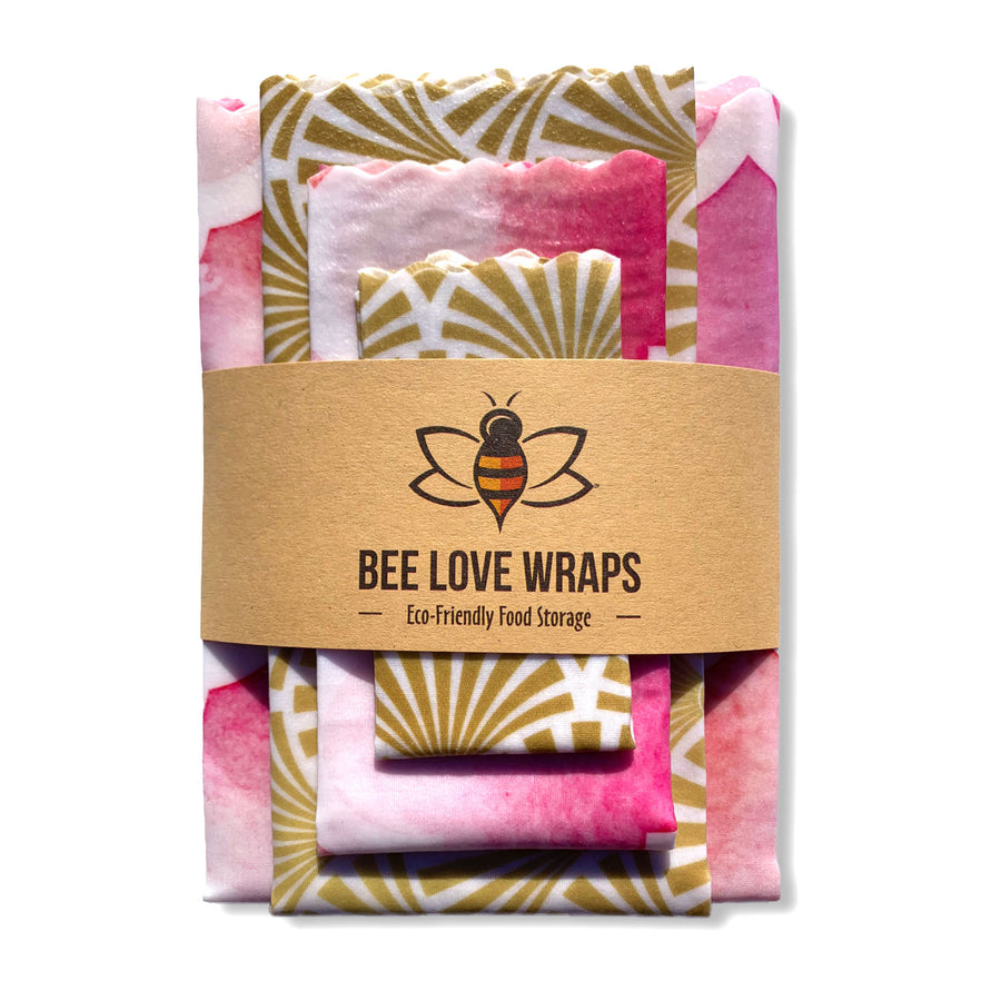 beeswax wrap 4 pack pink gold