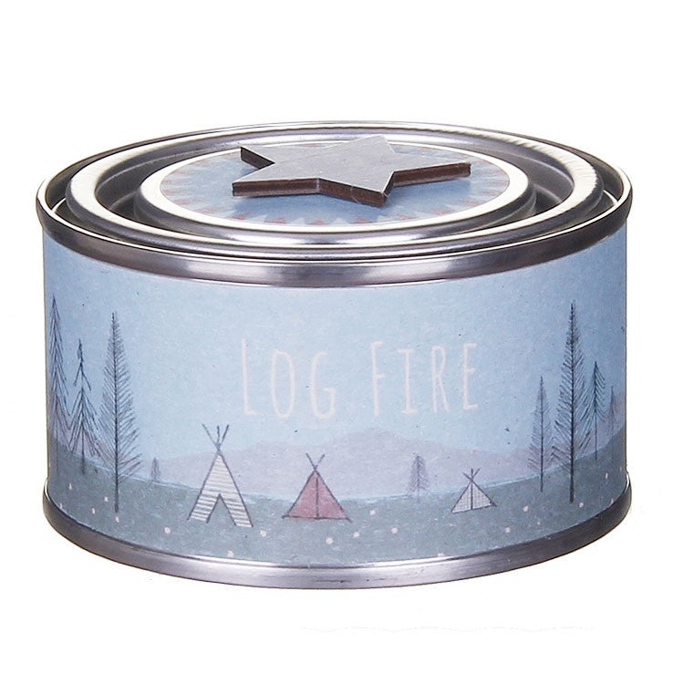 East of India Log Fire Tin Candle