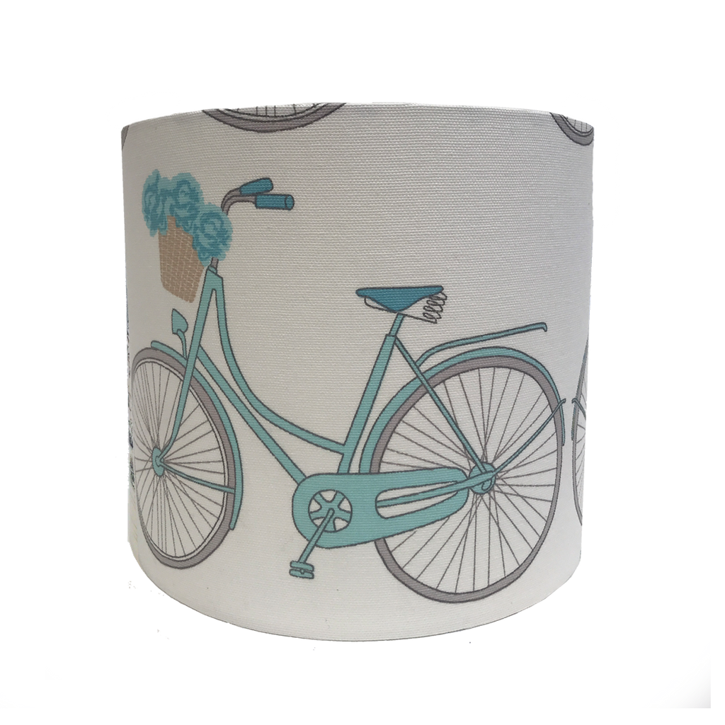 Small Lampshade in Bicycles Fabric.