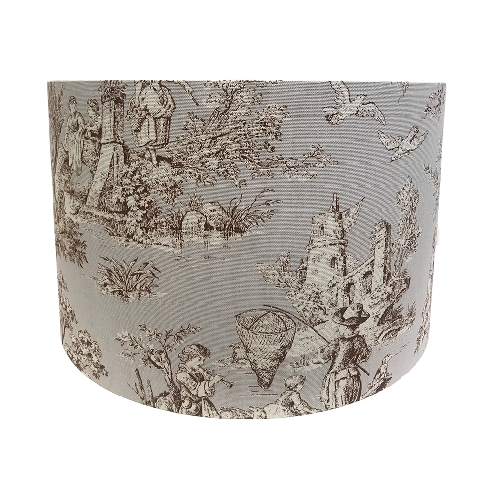 Large Lampshade in Annie Sloan Normandie Toile Fabric.