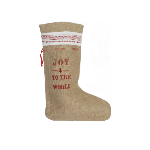 Hessian Joy To The World Stocking