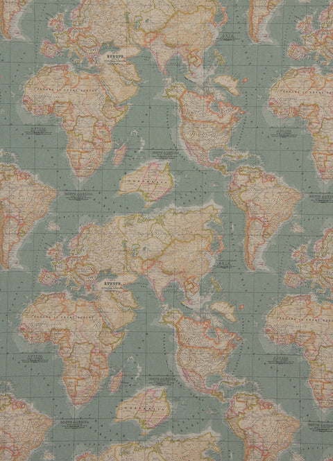 Annie Sloan Vintage World Map Fabric