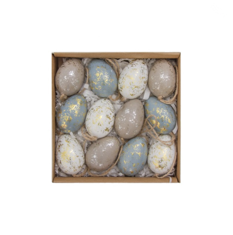 Pack of 12 Mottled Easter Egg Decorations
