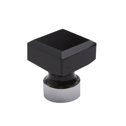 Square Glass Knobs - Black