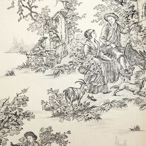 Annie Sloan Charcoal Pastorale Toile Fabric