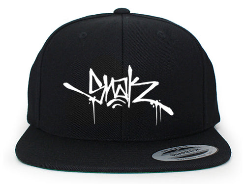 Snak Tag Snapback (White on Black)