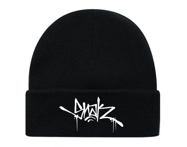 Snak Tag Beanie (White on Black)