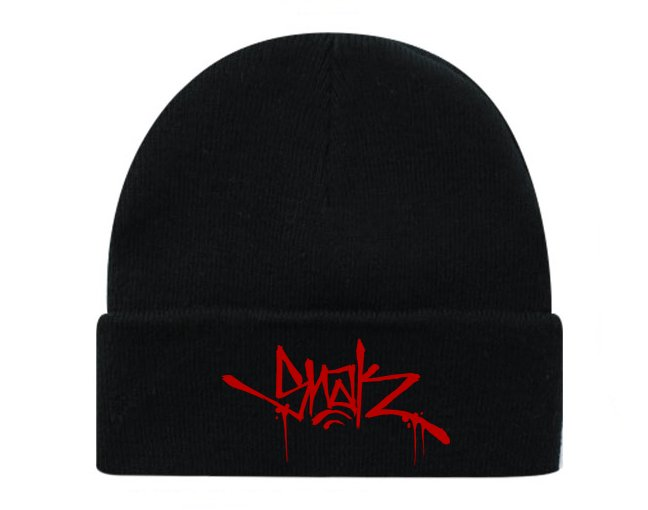 Snak Tag Beanie (Red on Black)