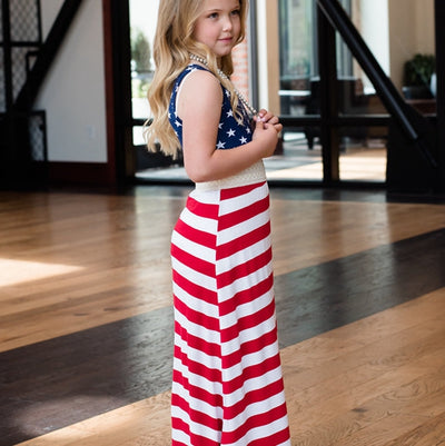 USA Patriotic Sleeveless Matching Maxi Dresses