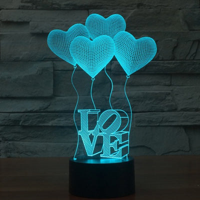 3D Love Heart Balloon Night Light