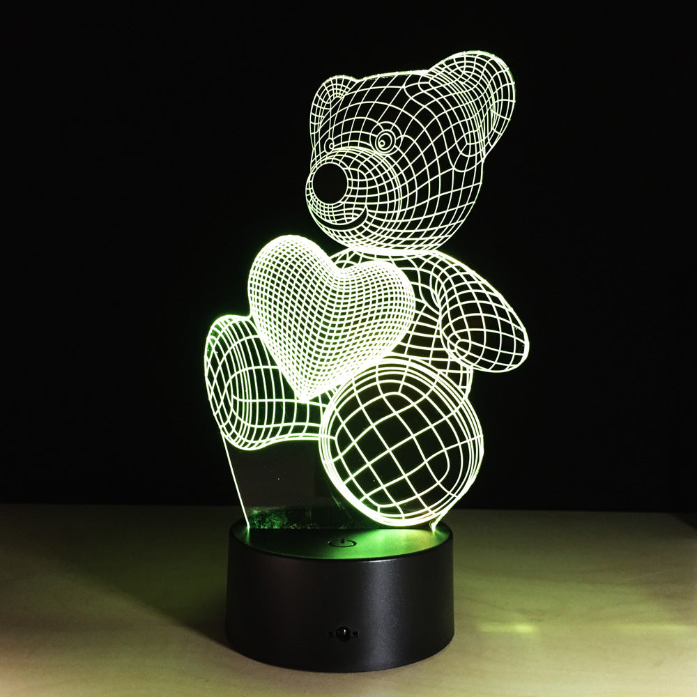 Adorable 3D Teddy Bear Night Light