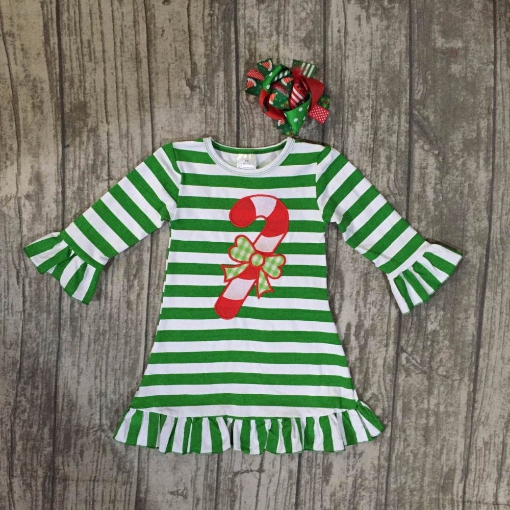 Striped Candy Cane 2PC Ruffle Dress Set