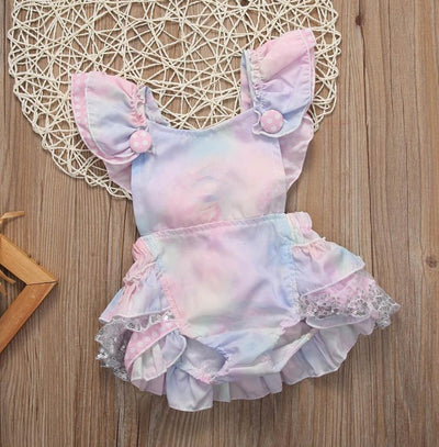 Multicolored Floral & Lace Romper