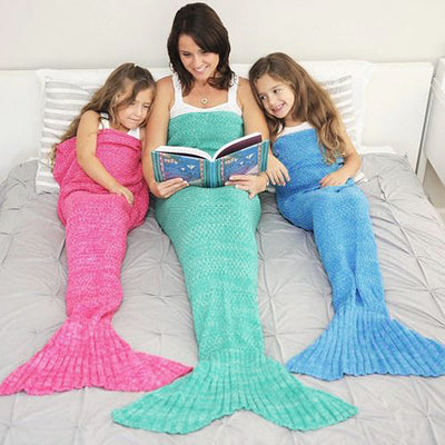 Vibrant Hand Knitted Mermaid Blanket