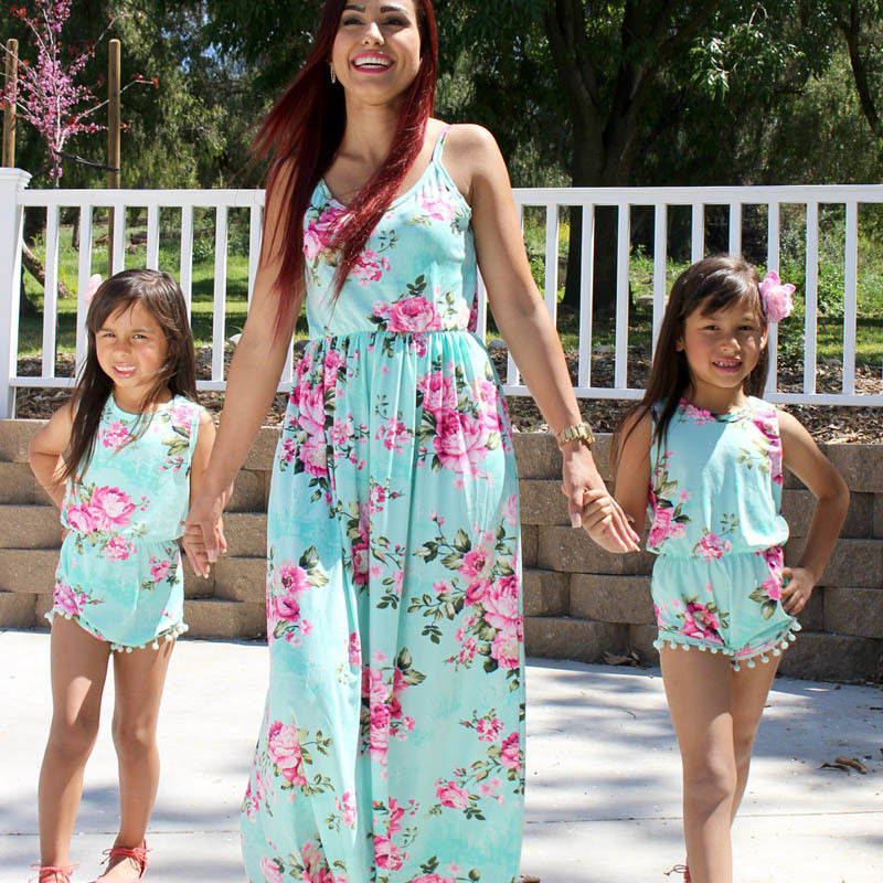 Bright Turquoise Summer Sleeveless Floral Maxi Dress