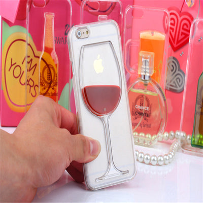 3D Red Wine Cup Liquid Transparent Phone Case