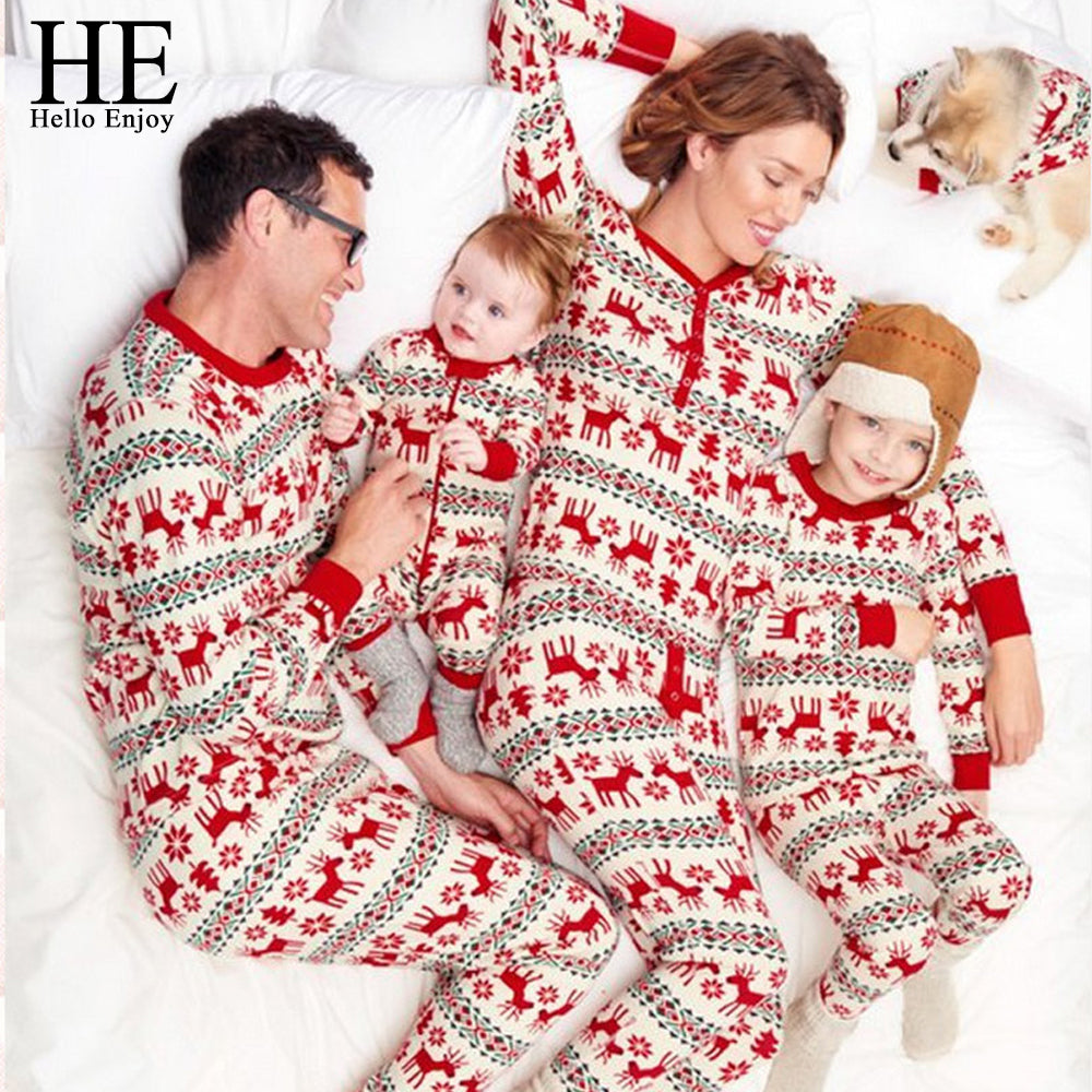 44727ff602 HE Hello Enjoy Christmas Pyjamas For Family Look Mom And Daughter Matching  Clothes Print Red Deer