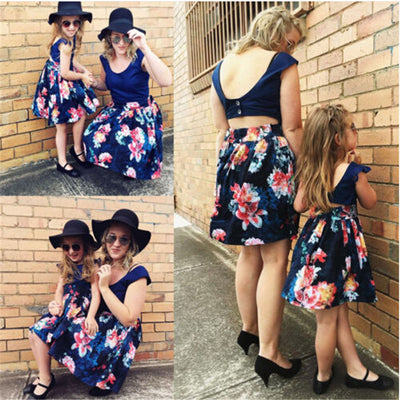 Sleeveless Summer Fun Navy Floral Dress