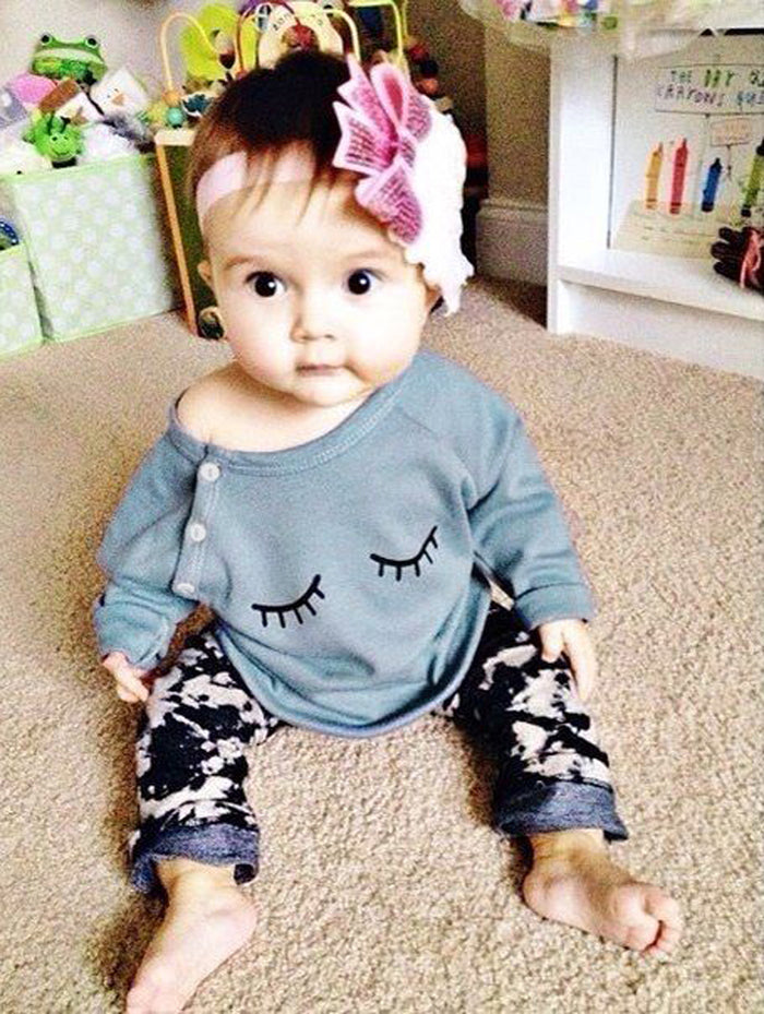 Eyelash T-Shirt Pants 2PCS Set