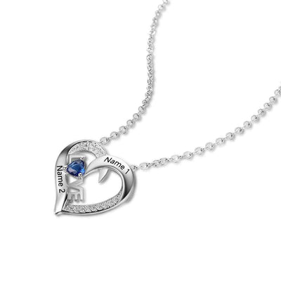 Personalized Engraved Birthstone Love Pendant