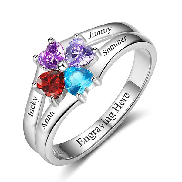 Personalized Royal Heart Engraved Four Birth Stone Ring