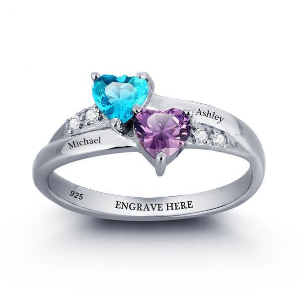 Personalized Engraved Heart Two Birthstone Ring