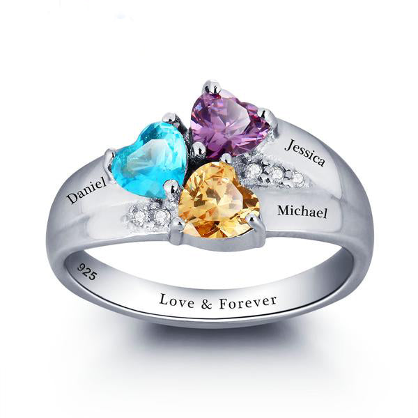 Personalized Heart Engraved Three Birthstone Ring