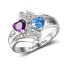 Personalized Princess Engraved Two Birth Stone Ring