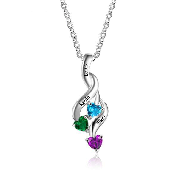 Personalized Engraved Swirling Three Birthstone Pendant Necklace
