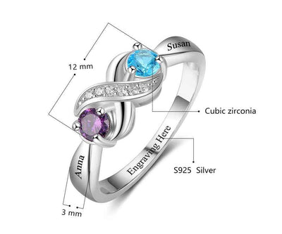 Personalized Infinity Engraved Two Birth Stone Ring