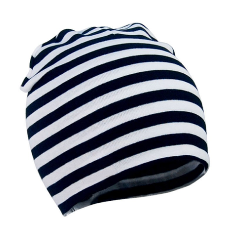 Black and White Striped Infant Beanie
