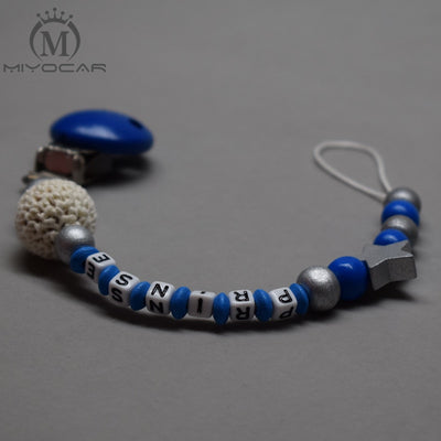 MIYOCAR personalized any name simple safe blue and sliver wood beads pacifier clip dummy clip pacifier holder pacifier chain