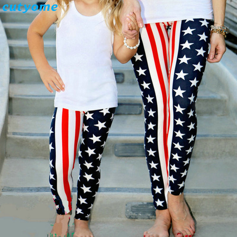USA American Flag Matching Yoga Leggings