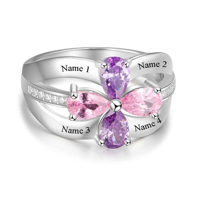 Personalized Gift for Sister Engrave 4 Friends Name 4 Birthstone Promise Rings 925 Sterling Silver Jewelry (JewelOra RI103285)