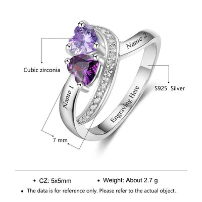 Personalized Swirling Heart Engraved Two Birth Stone Ring