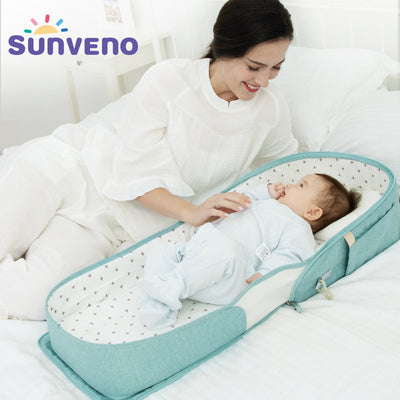 SUNVENO Baby Portable Bed Bag Foldable Newborn Travel Crib Carry on Nest Bed Diaper Bag Bed for Baby 0 6M|Baby Cribs|Mother & Kids