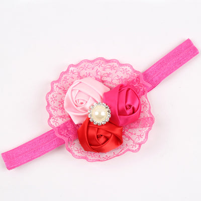 Three Rose Floral Lace Headband With Pearl