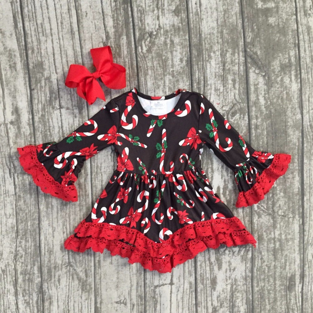 Candy Cane Lace Ruffle Dress & Bow