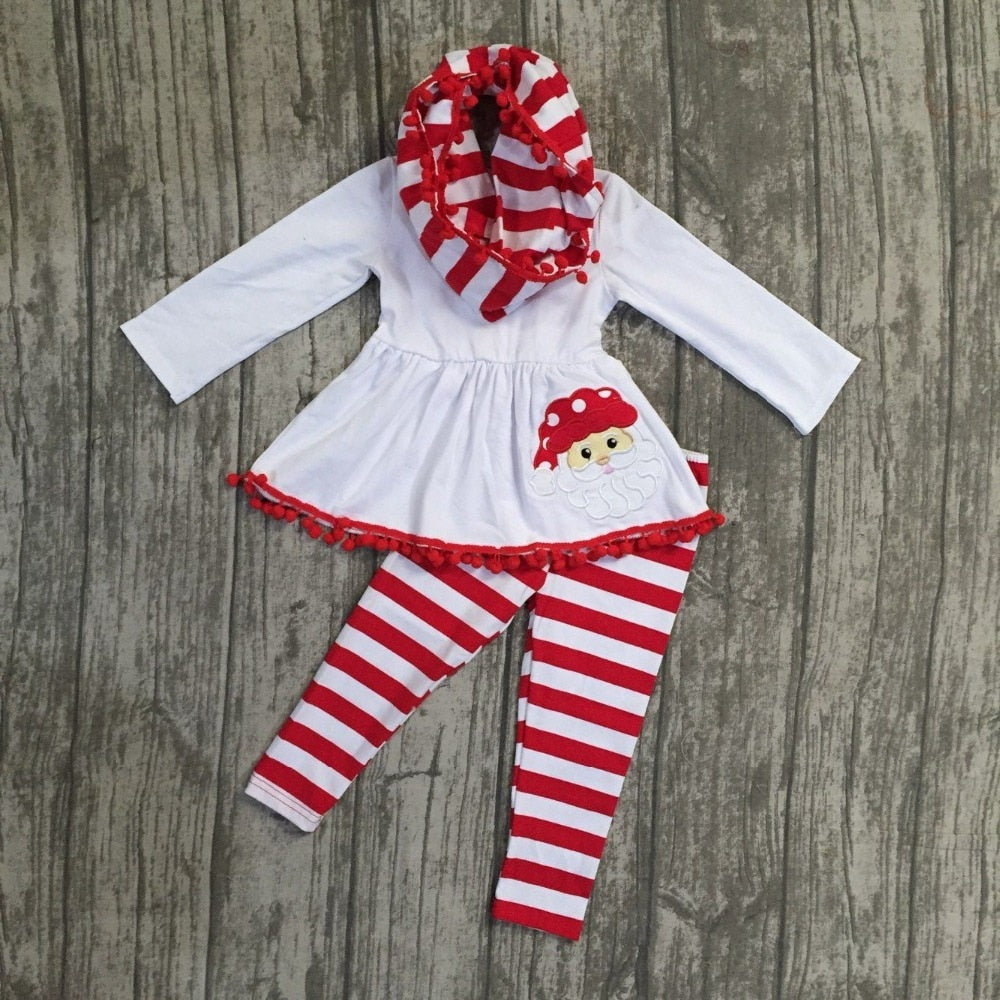 Striped Santa 3PC Pom Pom Boutique Set