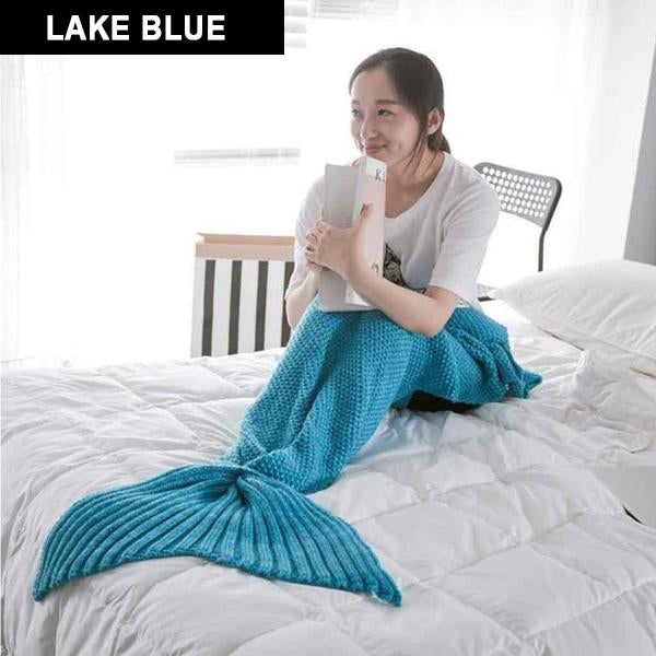 LOVELY SOFT MERMAID BLANKET IN GREEN HAND KNITTED REALLY SOFT AND COSY