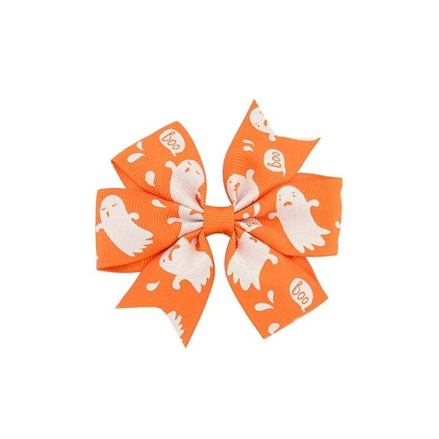Orange and White Ghost Hair Bow