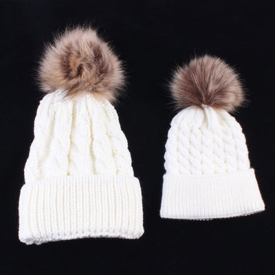 Matching Fur Pom Knit Beanies