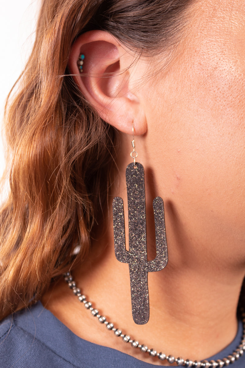 Midnight Cactus Dangle Earrings