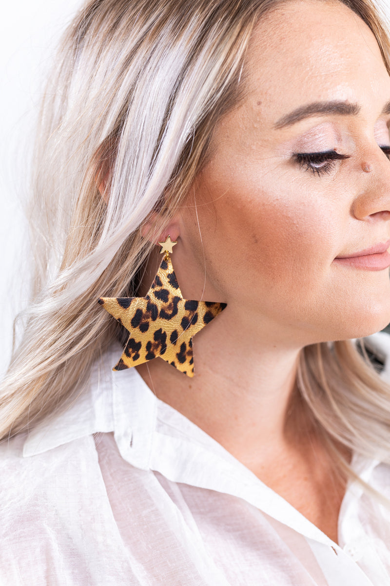 Leopard Star Leather Earrings