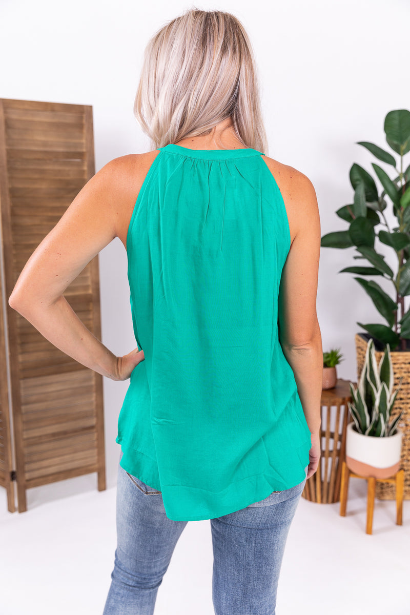 Fiesta Green Embroidered Tank Top
