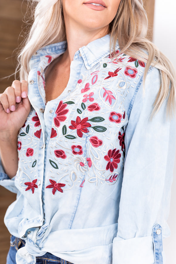 Pickin' Wildflowers Light Wash Pearl Snap Top